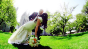 SLC Temple Wedding Kiss