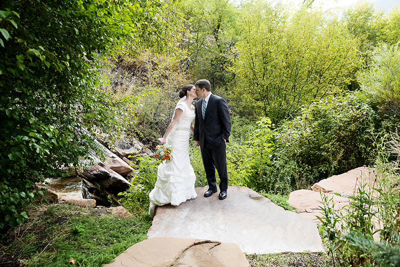 Bride & Groom kissing at Louland Falls