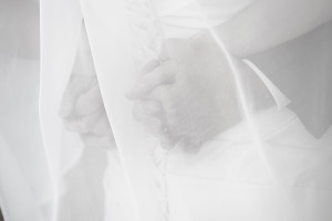 Bride & Groom Clasping Hands at the Payson LDS Temple