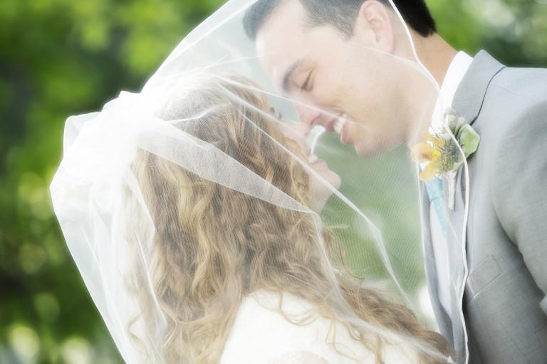 LDS Temple Weddings SLC veil bokeh green
