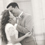 LDS Temple Weddings SLC B&W kiss bokeh