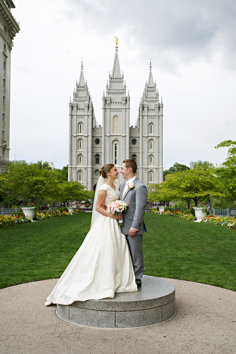 LDS Temple Weddings SLC pedestal cloudy
