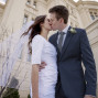 LDS Temple Weddings Payson kiss blue sky