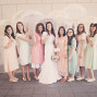 LDS Temple Weddings Draper umbrellas soft bridesmaids