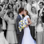 LDS Temple Weddings kiss steps big family