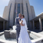 LDS Temple Weddings Oquirrh Mountain sun flare