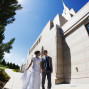 LDS Temple Weddings Oquirrh Mountain blue sky