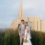 LDS Temple Weddings Oquirrh Mountain green grass