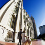 LDS Temple Weddings SLC fisheye blue sky