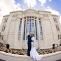 LDS Temple Weddings Payson clouds blue sky