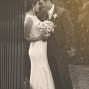 Utah Wedding Ceremony Pictures sepia bride groom