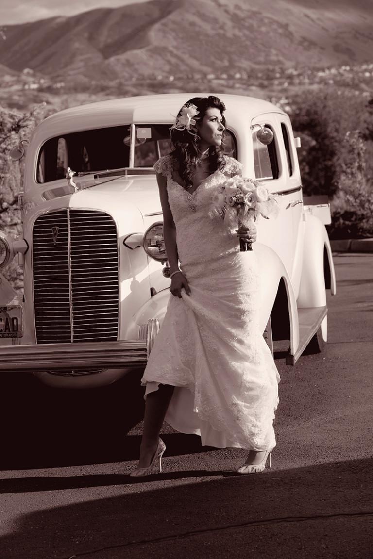 Utah Bridal Pictures sepia 1936 cadillac shoes