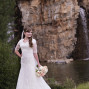 Utah Bridal Pictures Thanksgiving Point Waterfall rocks