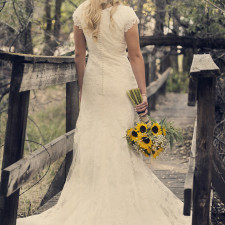Utah Bridal Pictures yellow flowers old bridge