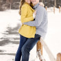 Utah Engagement Pictures sitting fence snow