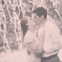 Utah Engagement Pictures sepia waterfall kiss
