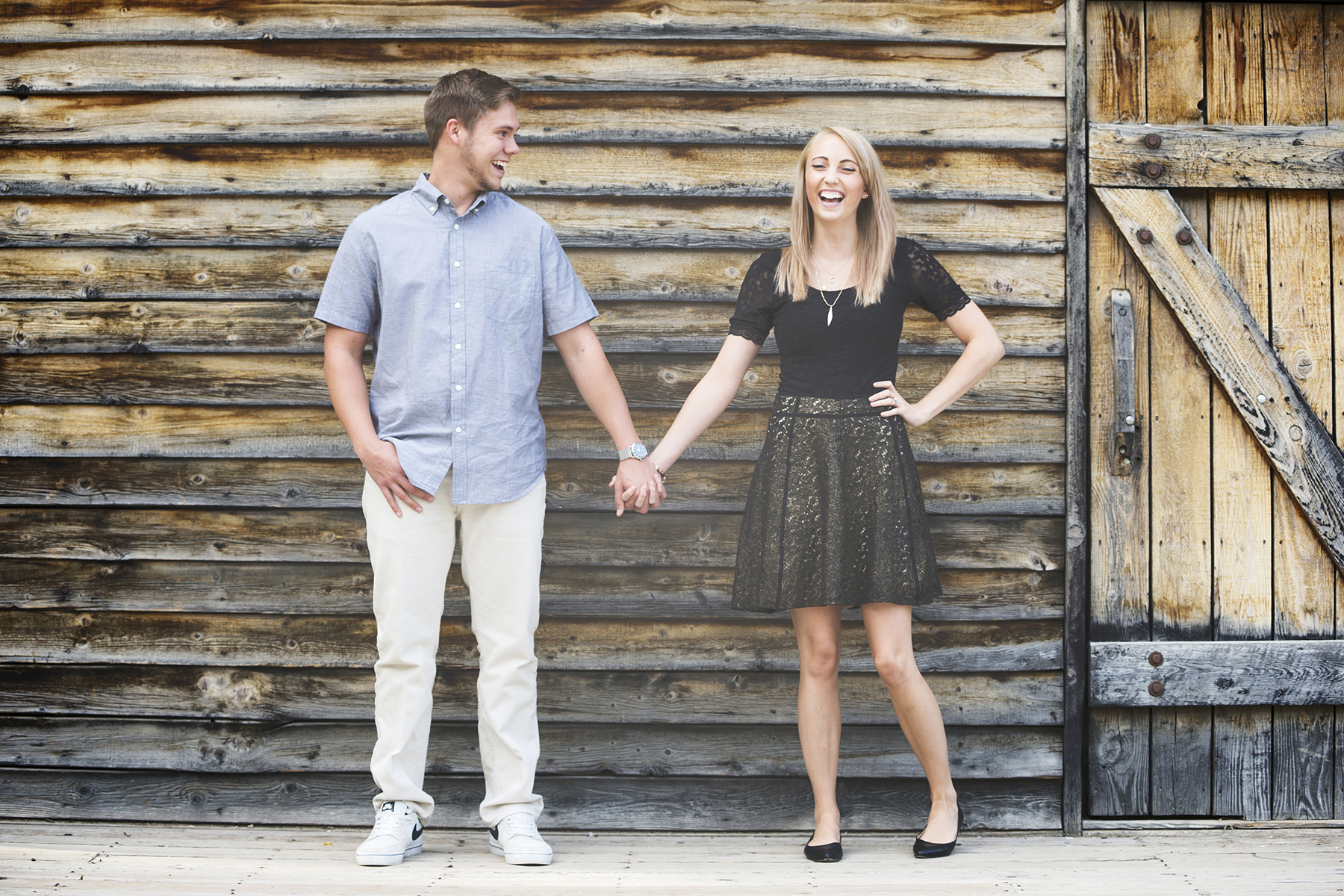 Utah Engagement Pictures holding hands laugh smile