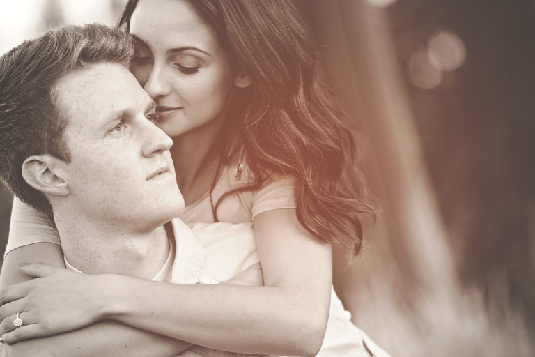 Utah Engagement Pictures sepia tender moment