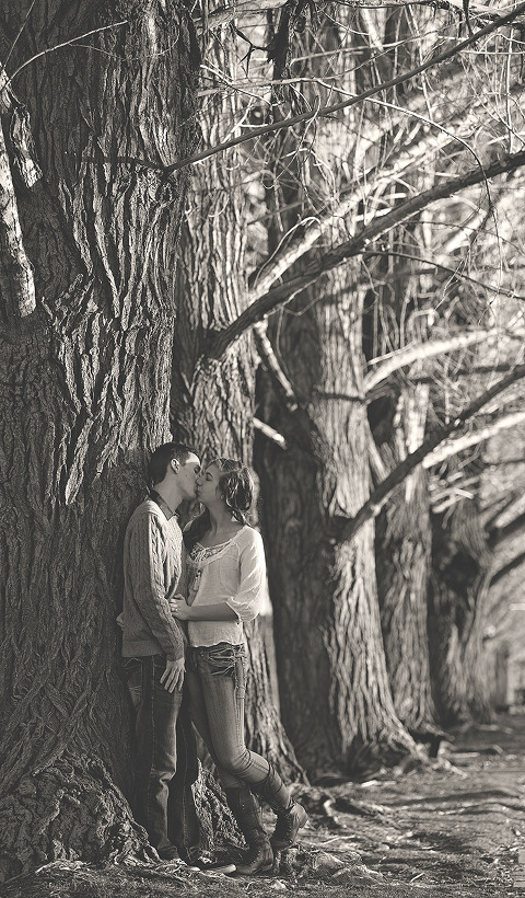 Utah Engagement Pictures big trees kiss BW
