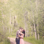 Utah Engagement Pictures tall trees kiss