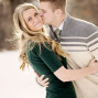 Utah Engagement Pictures kiss cheek backlit bokeh