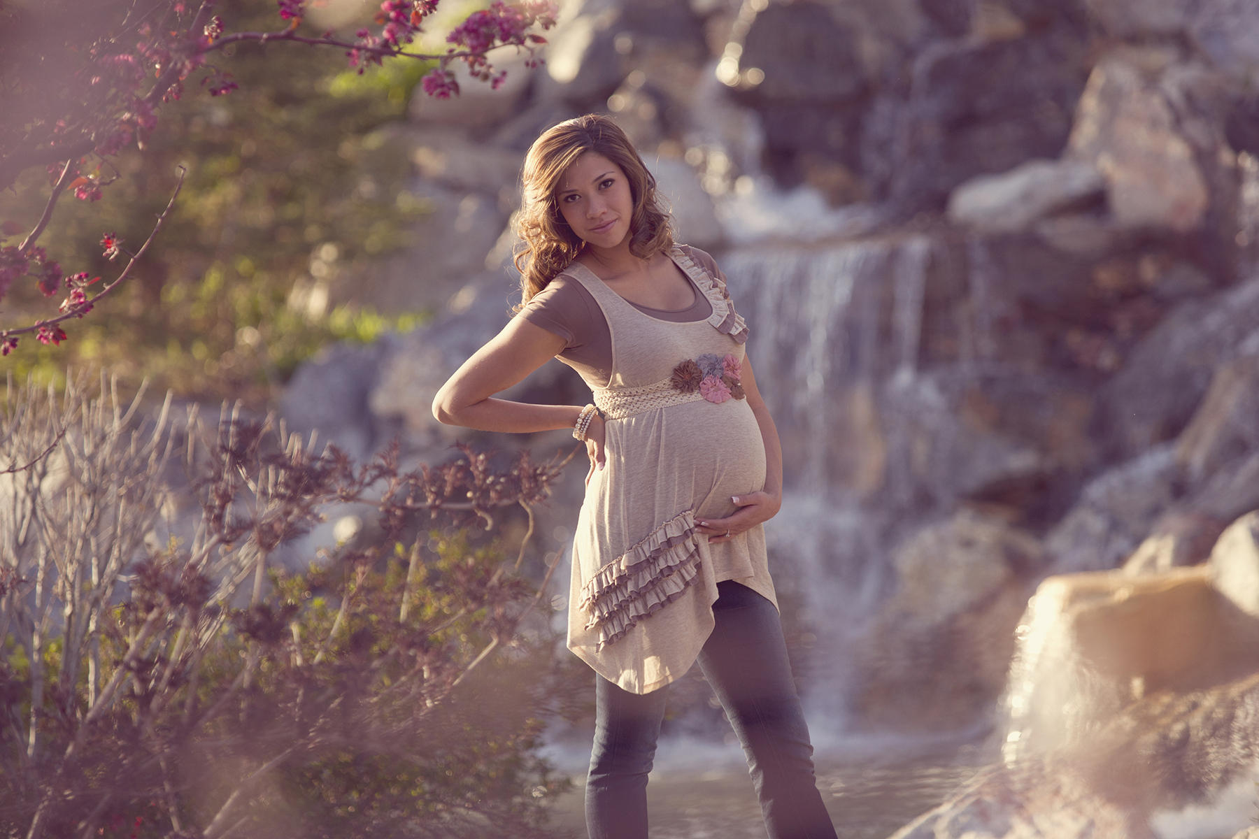 Maternity Pictures holding baby Millennial Falls