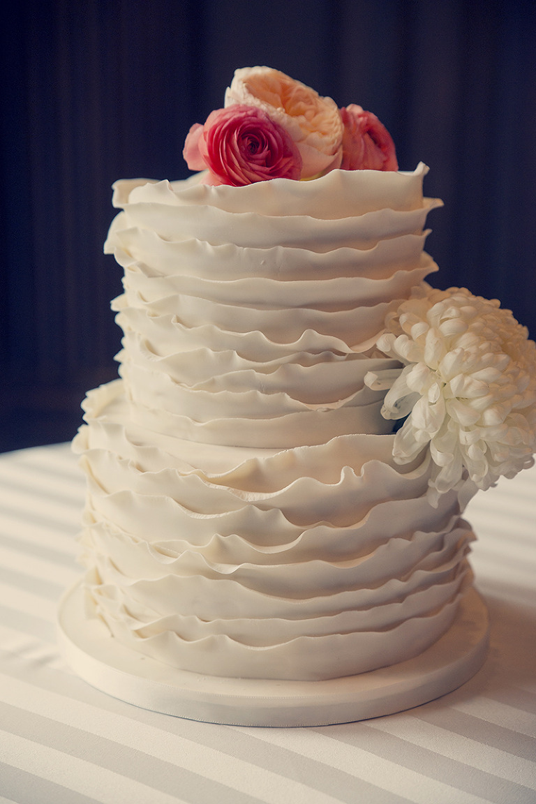 Utah Wedding Photos ruffled cake flowers