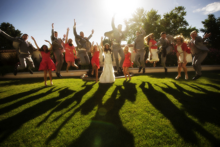 Wedding party Jump at Springville Art Museum