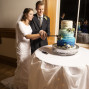 Utah Wedding Photos blue cake cut