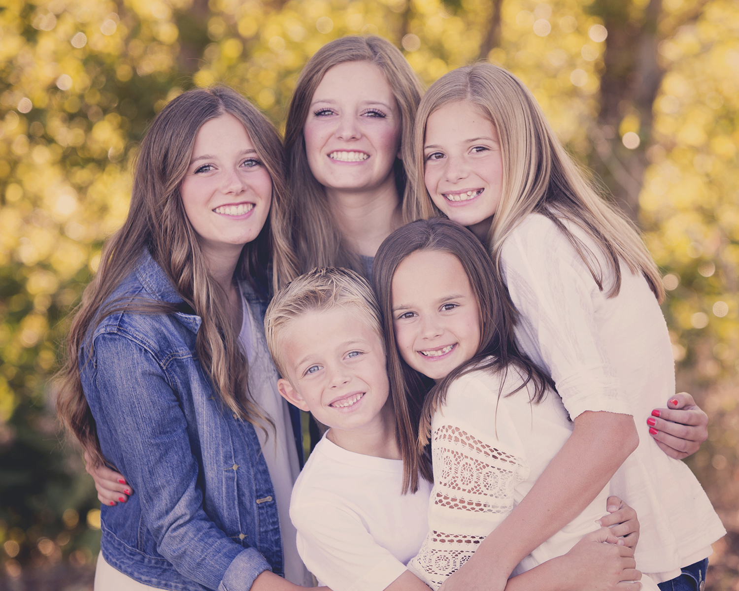 Utah Family Photos Five Siblings Bokeh