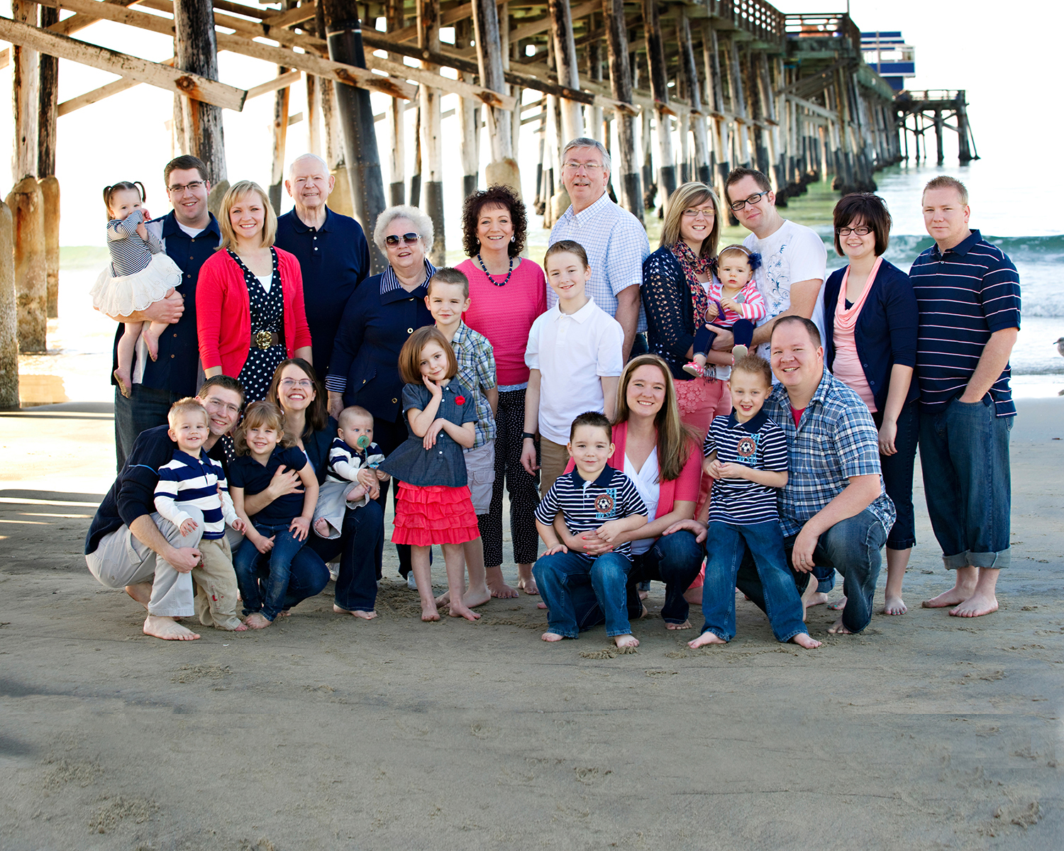 California Family Photos beach pier sand waves