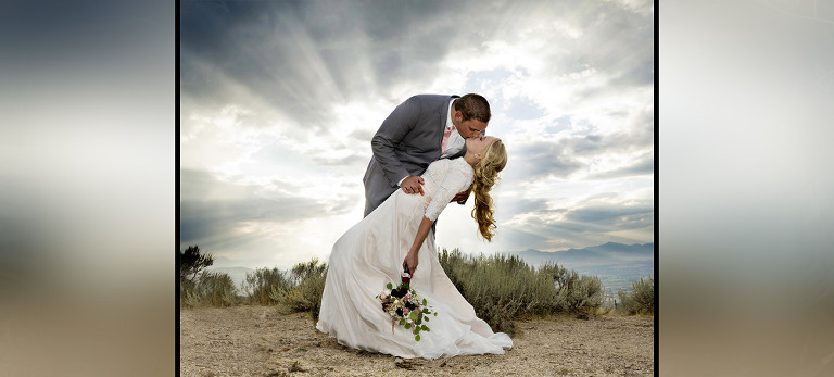 Sun Flares Through Clouds Bride and Groom Amazing Picture