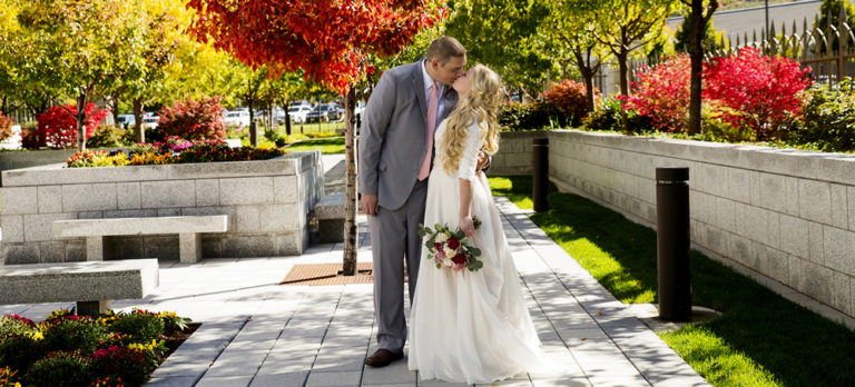Bride and Groom Kissing at the Draper Temple