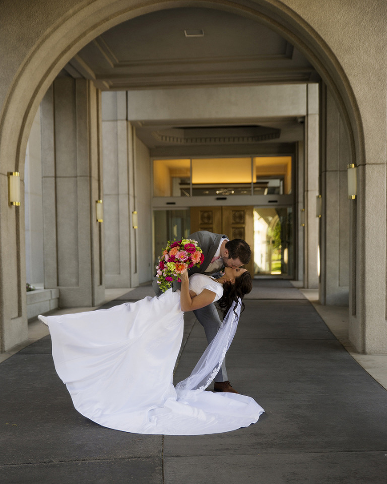 Mount Timpanogos Temple Arches Wedding Photo