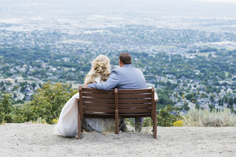 Formal Wedding Photo Looking over Salt Lake Valley