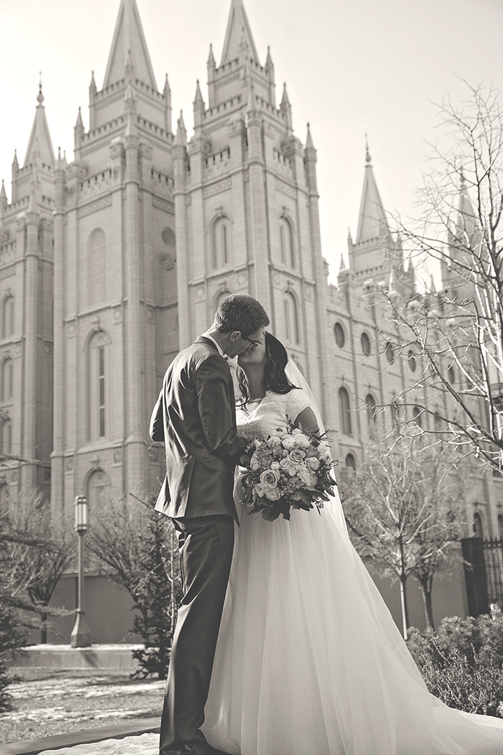 Salt Lake City Temple B&W Kiss