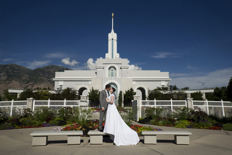 Mount Timpanogos Temple Bride and Groom Blue Sky