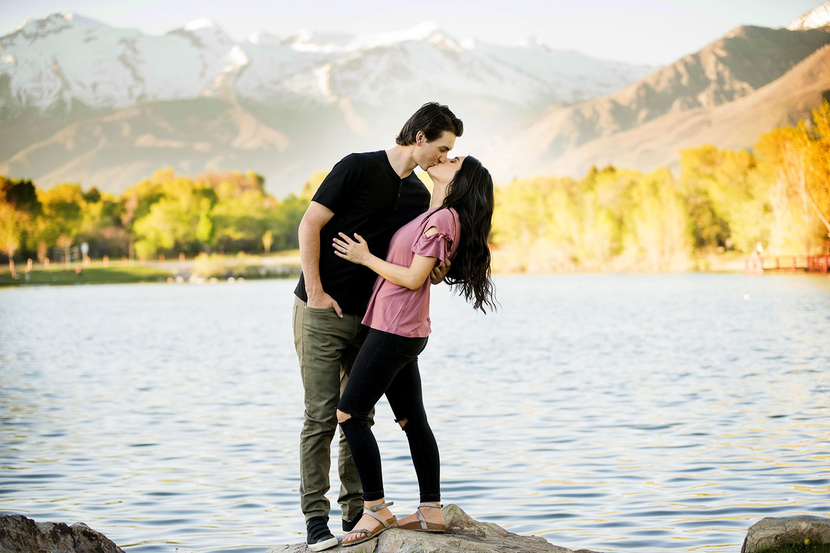 Engagement Kiss by Lake