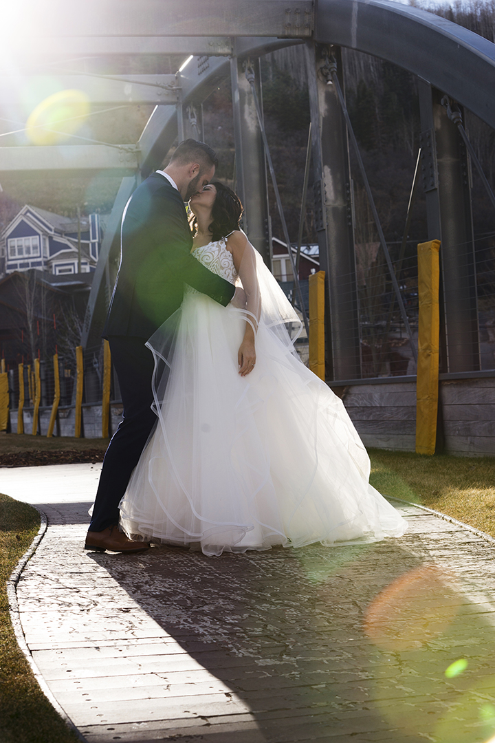 Wedding Pictures on Park City Main Street Bridge
