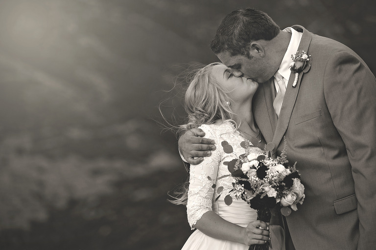 Bride and Groom Kiss B&W