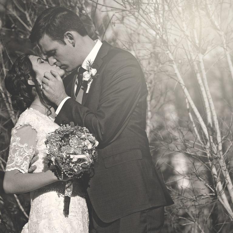 Bride and Groom Kissing at Logan Temple