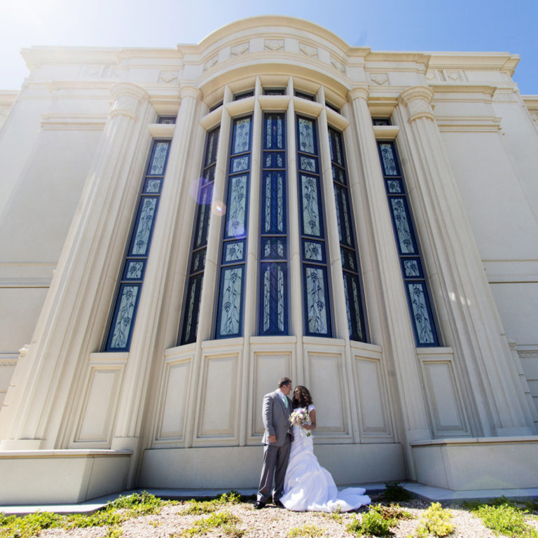 Majestic view of Bride and Groom at Payson Temple