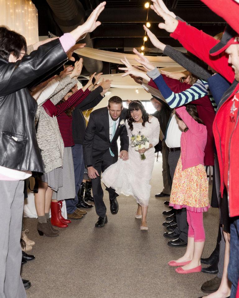 Bride and Groom Grand Exit Spirit Fingers
