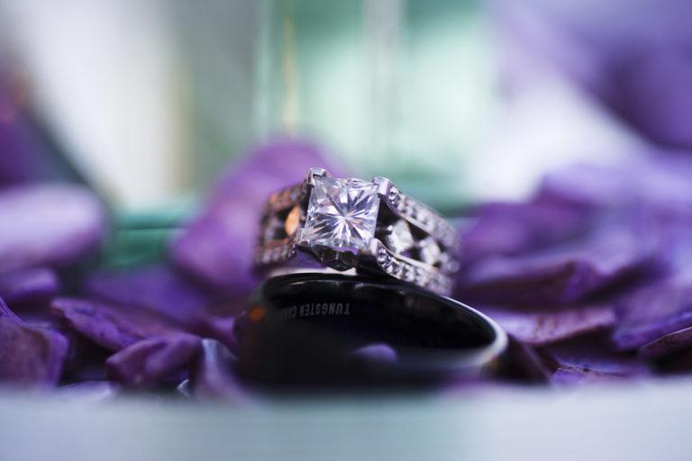 Bokeh Wedding Rings purple flowers