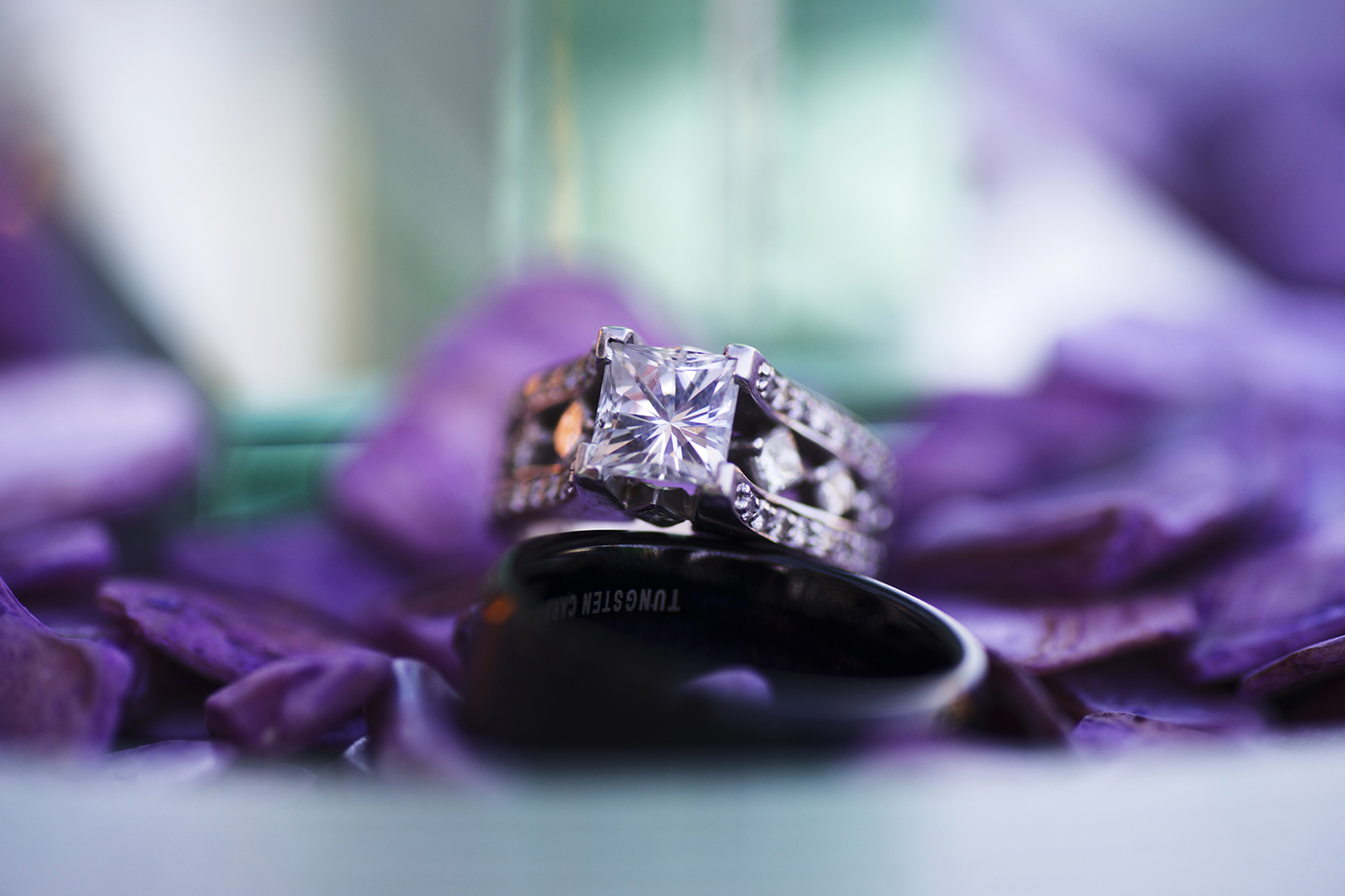 Bokeh Wedding Rings purple flowers