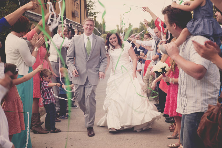 Wedding Grand Exit Green Ribbons