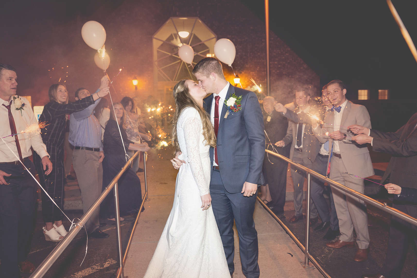 Wedding Grand Exit Sparklers Kiss