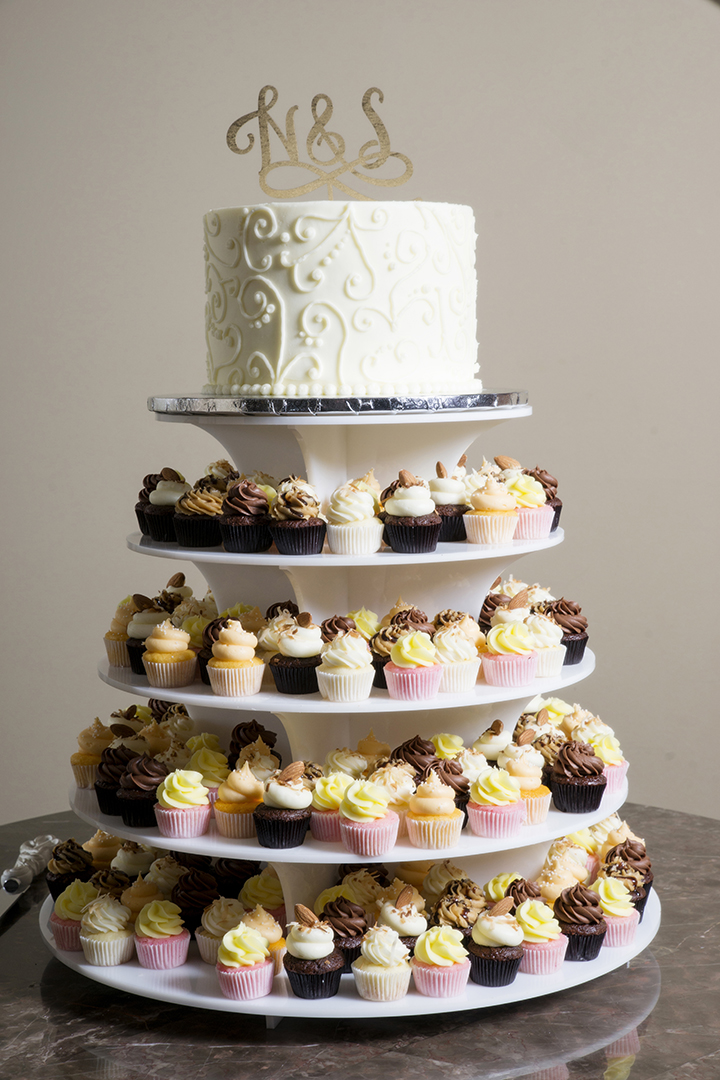 Wedding Cake and Mini Cupcakes