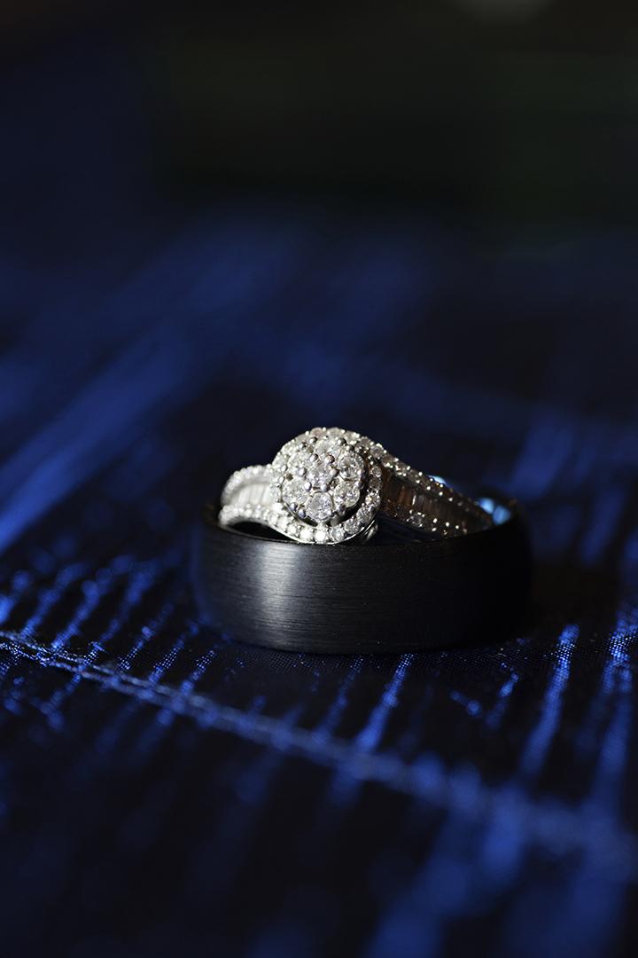 Wedding Rings Blue Background