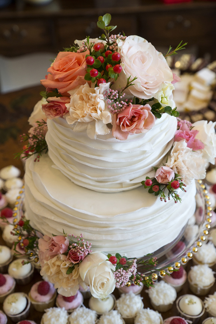Wedding Cake and Cupcakes with Flowers